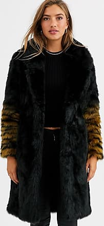 Urban Code coat with ombre tiger sleeves-Black