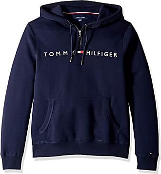 Tommy Hilfiger Mens Adaptive Hoodie Sweatshirt with Extended Zipper Pull, Navy Blazer, XX Large