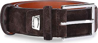 Santoni Santoni Belt suede logo brown