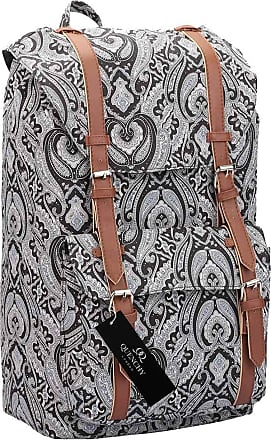 Quenchy London Backpack Casual Daypack for Girls and Women, Medium Canvas School Size A4 Bag 45cm x30x9 25 Litre QL916 (Black Paisley)