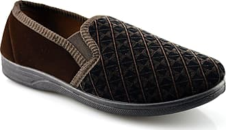 Zedzzz Mens New Boxed Slip On Velour Twin Gusset Slippers Shoes Size 6-16 - Brown - UK 12