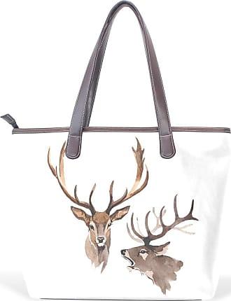 NaiiaN Purse Shopping Light Weight Strap Tote Bag Leather Reindeer Animal Wildlife for Women Girls Ladies Student Handbags Shoulder Bags