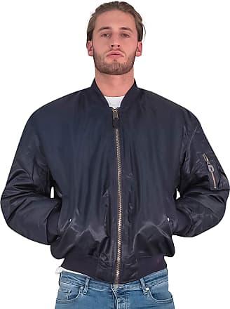 Love my Fashions Aron Mens Ma1 Bomber Zip Long Sleeve Jacket Navy Blue
