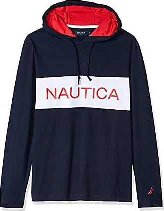 Nautica Mens Long Sleeve Blocked Beach 100% Cotton Pullover Hoodie, Navy Small