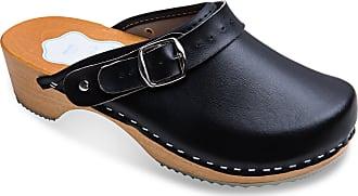 FUTURO FASHION Womens Healthy Natural Genuine Leather Wooden Sole Plain Clogs Unisex Colours Sizes 3-8 UK Black