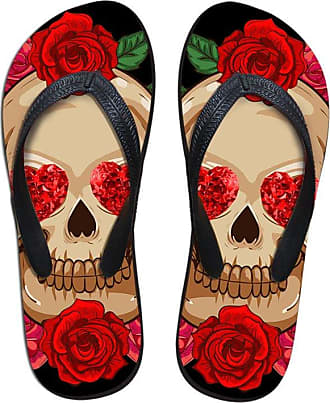 Coloranimal Stylish Flower Skull Pattern Flip Flops for Women Lightweight Home Slipper EU38