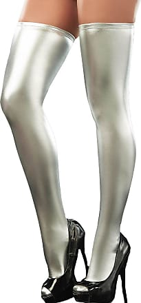 Queenshiny Womens Wet Look Thigh High Stockings (Silver)