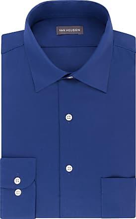 Van Heusen Mens Dress Shirts Regular Fit Lux Sateen Stretch Solid, Blue Velvet, 18 Neck 34-35 Sleeve