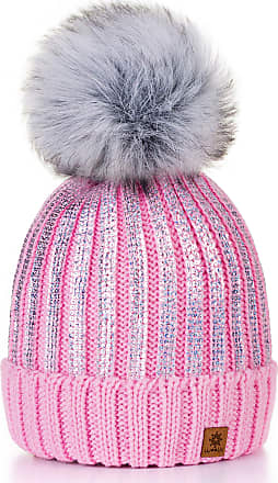 4sold Womens Ladies Winter Hat Knitted Beanie Large Pom Pom Cap Ski Snowboard Hats Bobble Gold Circle (Pink)
