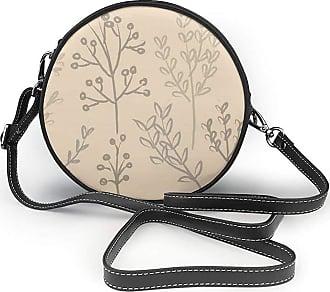 Turfed Line Art Print Round Crossbody Bags Women Shoulder Bag Adjustable PU Leather Chain Strap and Top Zipper Small Handbag Handle Tote