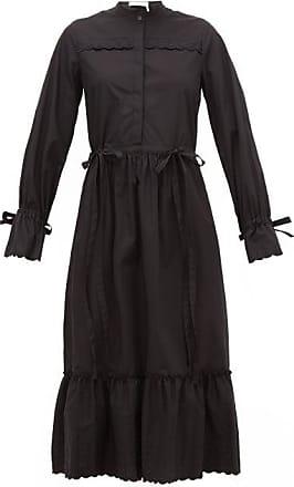 See By Chloé Scalloped-edge Cotton-poplin Shirt Dress - Womens - Black