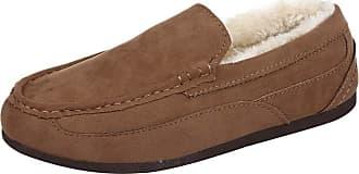 Daytwork Men Fur Lined Shoes - Moccasin Comfort Slippers Mens Faux Suede Stitch Detail Hard Sole Warm Shoe Size UK 8-12 Khaki
