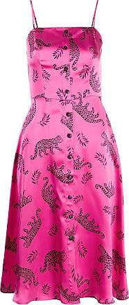 HVN Vestido de cetim com estampa de leopardo - Rosa