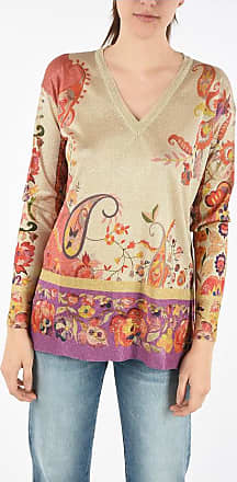 Etro Floral-printed Lurex v-neck sweater Größe 44