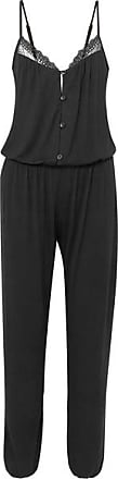 Eberjey Lucie Lace-trimmed Stretch-modal Jersey Jumpsuit - Black