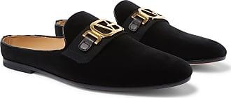 Versace Leather-trimmed Horsebit Velvet Backless Loafers - Black