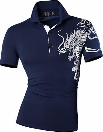 Jeansian Mens Casual Slim Fit Short Sleeve Polo T-Shirts Collar Tee Tops U027 Navy S