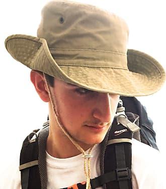 TOSKATOK UPF 50+ Unisex Safari Outback Australian Style Cotton Bush Hat with Wide Brim, Chin Strap, Side Press Studs and Air Vents-Khaki