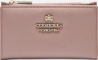 VINTAGE Pelle borsa di denaro con borchie in rosso 18 scomparti carte di credito