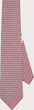 Salvatore Ferragamo Uomo Cravatta in seta stampa Gancini olimpici Rosso