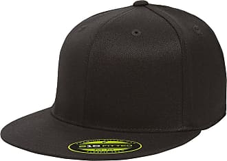 Yupoong Unisexs 210 Fitted Flat Bill Cap Hat, Black, S/M