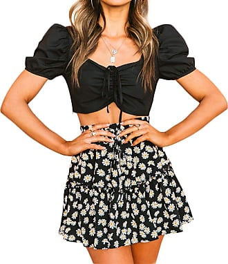 QIYUN.Z Womens A-line Floral Print Sunflower Print Pleated Mini Short Skirts with Drawstring Black XL