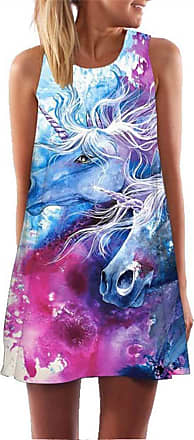 Ocean Plus Womens Sleeveless Vintage Boho Beach Dress Sundress Tank Tops Beach Dress Round Neck Short A Line Shirt Dress Blouse Dress (XXL (UK 14-16), Two Unicor