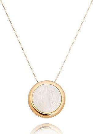 Lua Mia Semijoias Colar Medalha São Bento Madrepérola Rosé Gold