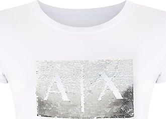 A|X Armani Exchange T-shirt slim fit com paetês - Branco