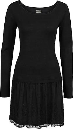 0ff5bd89b5d2 Bonprix Dam Stickad klänning med spetskjol i svart lång ärm - RAINBOW