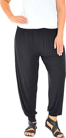 Nouvelle Collection New Womens Harem Trousers Plus Size Ladies Ali Baba Plain Pants Elasticated Leggings Cuffed Long Full Length Black 16-18