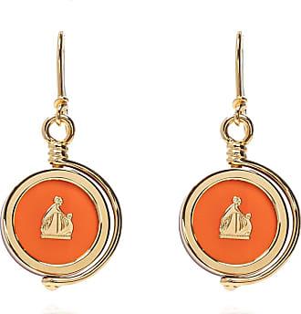 Lanvin Drop Earrings With Logo Womens Gold