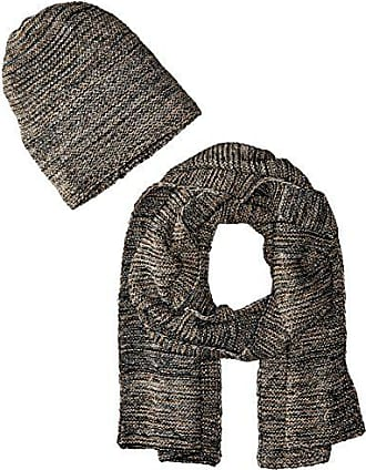 La Fiorentina Womens Knit Scarf and Hat 2 Piece Set, Black, One Size