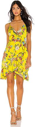 J.O.A. Ruffled Midi Wrap Dress in Yellow