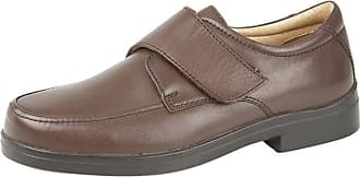 Roamers Mens Leather XXX Extra Very Wide Fit Lightweight Strap Shoes Brown 10