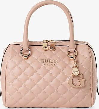 Guess Luxe Damen Tasche aus Leder gesteppt in rosa beige