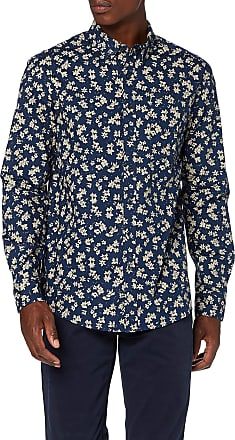 Farah Mens Patterson Floral Print Casual Shirt, Blue (Night Sky 978), X-Large (Size:XL)