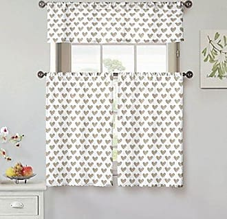 Kensie Roza 100% Cotton Heart Print Kitchen Tier & Valance Set   Small Window Curtain for Cafe, Bath, Laundry, Bedroom, Taupe