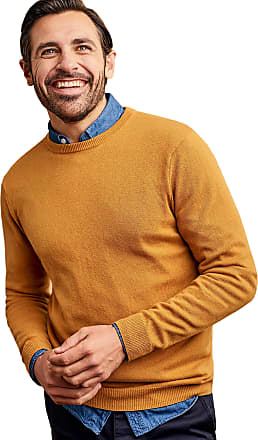 WoolOvers Mens Cashmere and Merino Crew Neck Knitted Jumper Sunglow, XL