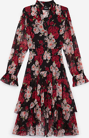 The Kooples Long formal dress with frills & floral print - WOMEN