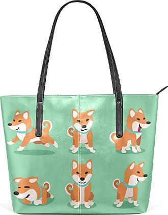 NaiiaN Handbags Light Weight Strap for Women Girls Ladies Student Tote Bag Leather Cartoon Shiba Inu Dog Poses Purse Shopping Shoulder Bags City
