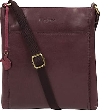 Pure Luxuries London Conkca London Dink Womens 26cm Biodegradable Leather Cross Body Bag with Zip Over Top, 100% Cotton Lining and Adjustable Slimline Leather Strap in Plu