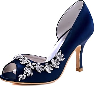 Elegantpark HP1542 Wedding Shoes for Bride Women Bridal Shoes High Heels Peep Toe Satin DOrsay Rhinestones Wedding Court Shoes Navy Blue UK 9