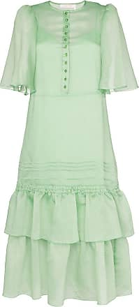 See By Chloé Floaty sleeves tiered skirt midi dress - Green
