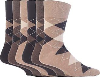 SockShop 6 pairs Mens SockShop Cotton Gentle Grip Big Foot Socks, Size 12-14 uk 46-50 eur See Various (6 x RJ41 Argyle - Neutrals)