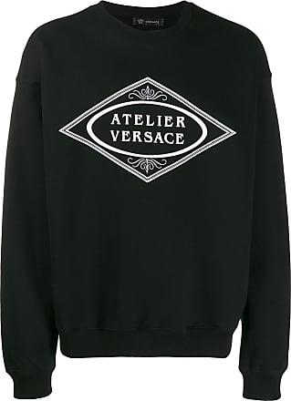 Versace Moletom com bordado de slogan - Preto