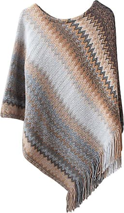 YOUJIA Womens Autumn Asymmetric Batwing Striped Sweaters Jumpers with Tassel Casual Knit Pullovers Poncho Cape (Brown, One Size)