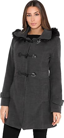 Krisp Women Parka Belted Military Duffle Trench Toggle Coat Long Jacket (Charcoal, 6), 5652-CHA-06