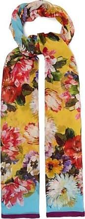 Dolce & Gabbana Floral-print Silk-crépon Scarf - Womens - Yellow Multi