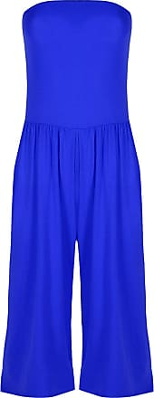 Be Jealous Womens Ladies Boobtube Sleeveless Ruched Pleated Palazo Jumpsuit Playsuit Royal Blue